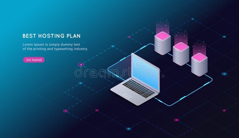 大数据处理,网络主持和服务器室,计算机的概念 互联网通信 皇族释放例证