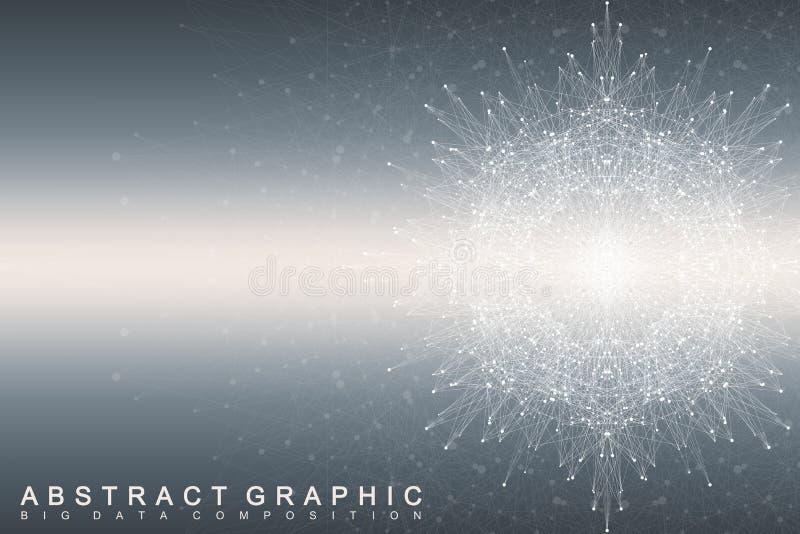 大数据复合体 图表抽象背景通信 深度透视背景  与化合物的最小的列阵 皇族释放例证