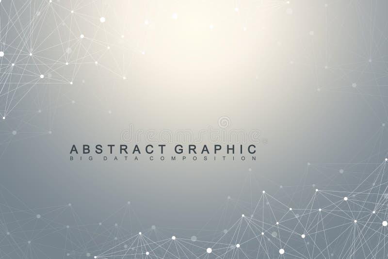大数据复合体 图表抽象背景通信 深度透视背景  与化合物的最小的列阵 库存例证