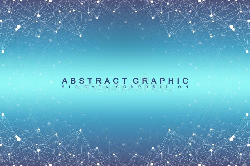 大数据复合体 图表抽象背景通信 深度透视背景  最小的列阵 向量例证