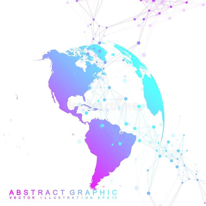大数据复杂世界地球 图表抽象背景通信 深度透视背景  真正最小 皇族释放例证