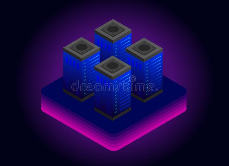 大数据存储技术传染媒介例证概念 云彩服务器室机架,网络数据中心,未来能量驻地  向量例证