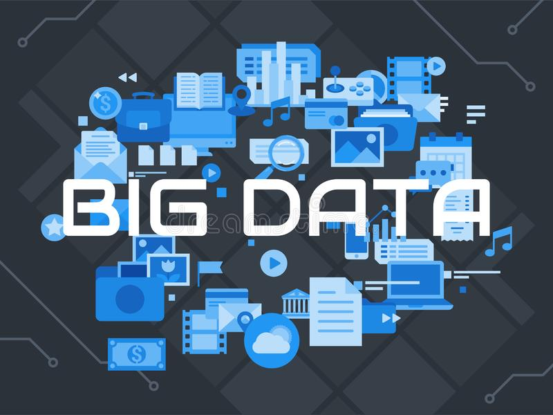 大数据平的概念 设计传染媒介例证 皇族释放例证