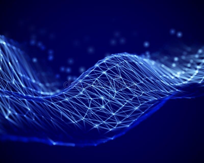 大数据抽象形象化:信息海的表面上的波浪  向量例证
