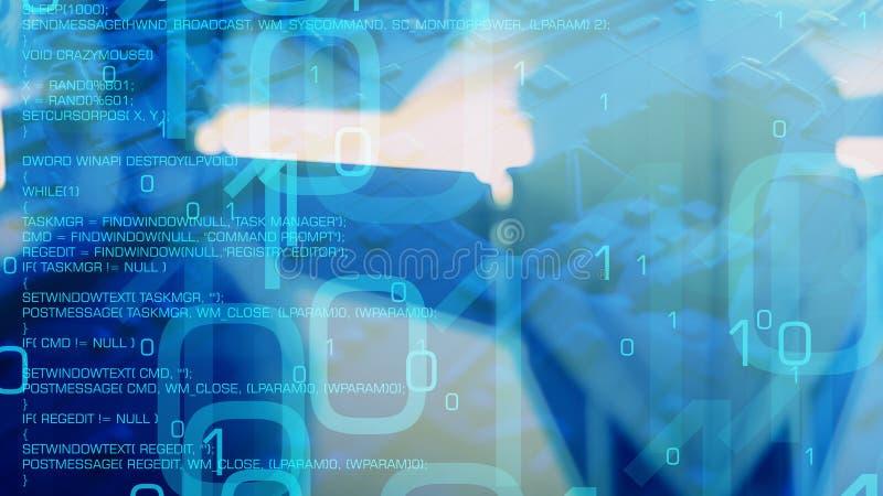 大数据抽象概念、二进制编码和病毒代码 皇族释放例证