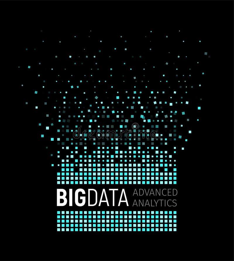 大数据摘要传染媒介形象化 线和小点列阵 大数据连接复合体 图表分数维元素 向量例证
