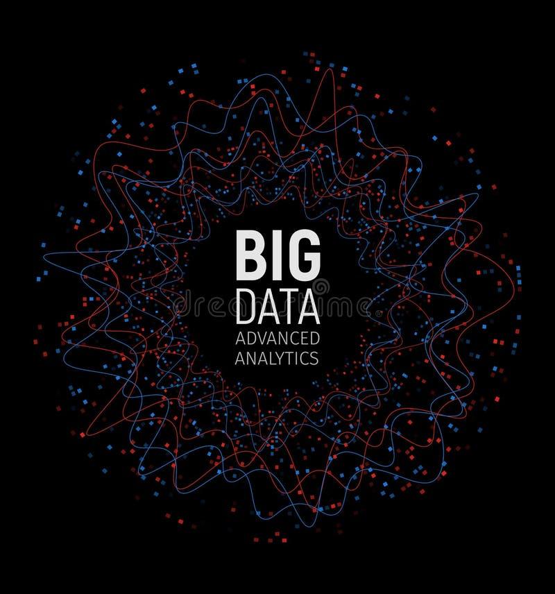 大数据摘要传染媒介形象化 线和小点列阵 大数据连接复合体 图表分数维元素 皇族释放例证