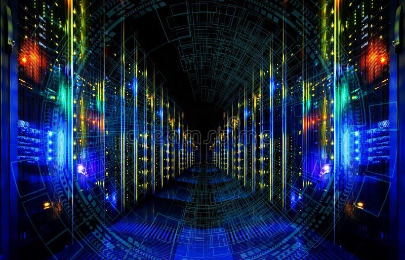 大数据摘要形象化 未来派审美设计 与HUD元素的大数据背景 在现代的存贮磁带上 免版税图库摄影