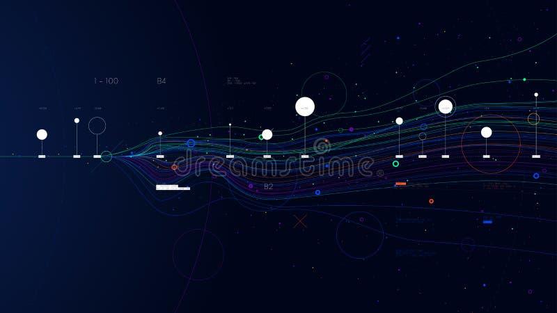 大数据概念,传染媒介线性图信息流结基地编程 库存例证