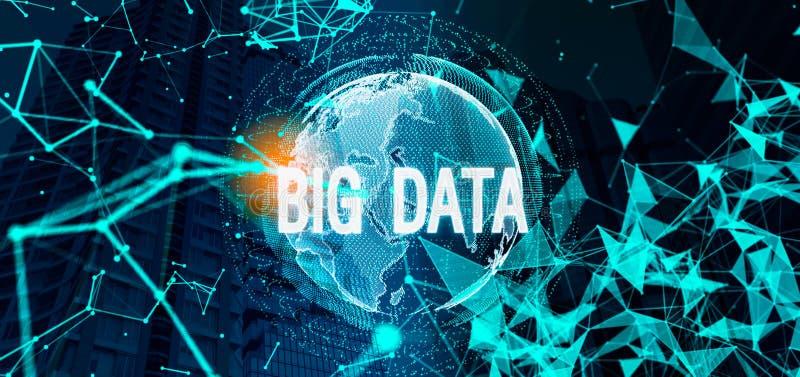 大数据概念 反对被弄脏的蓝色的白色大数据全息图 免版税库存图片