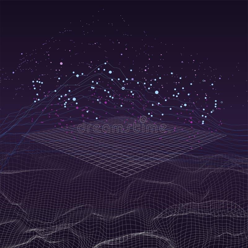 大数据流未来派infographic 库存例证