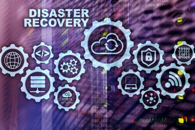 大数据灾后重建概念 备用计划 数据在一个虚屏上的预防损失的措施 皇族释放例证