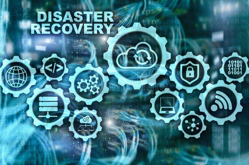 大数据灾后重建概念 备用计划 数据在一个虚屏上的预防损失的措施 向量例证