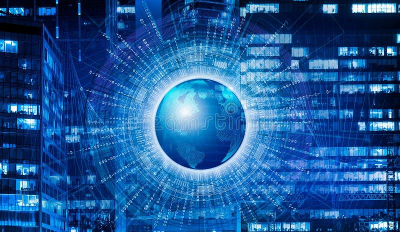 大数据的概念在行星附近的在晚上接地与发光的窗口的现代办公楼 皇族释放例证