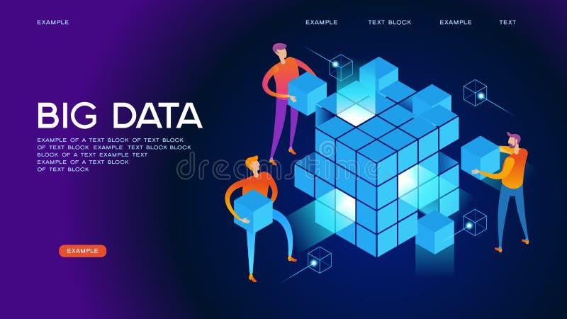 大数据网横幅 向量例证