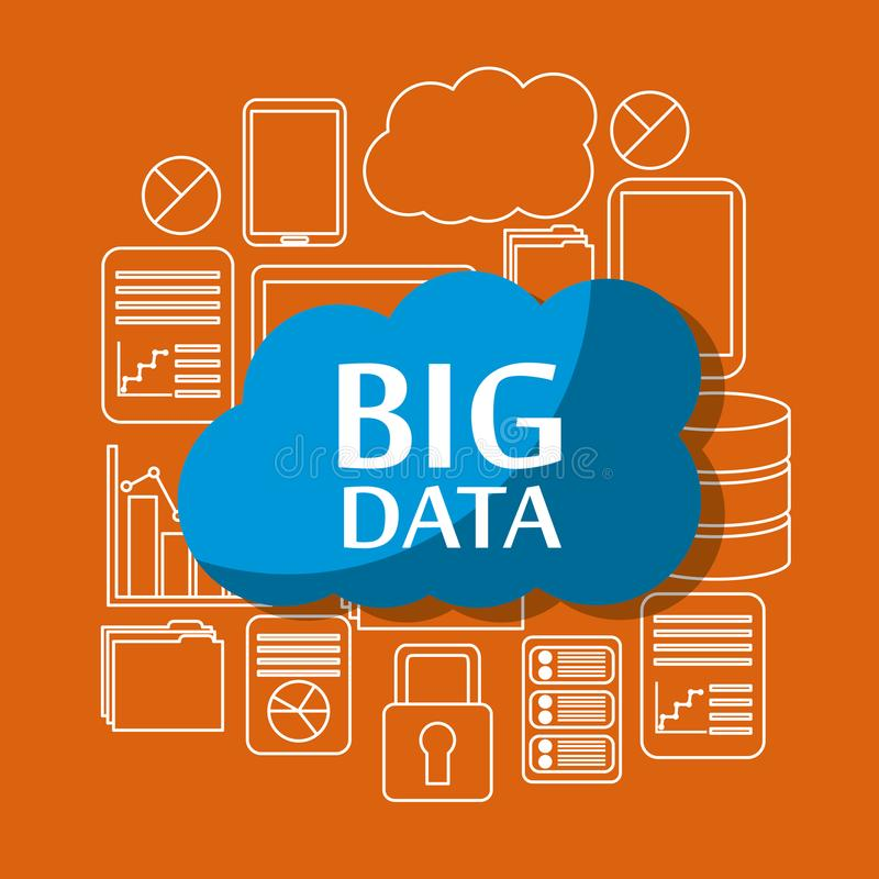 大数据覆盖安全文件存储信息服务器中心 皇族释放例证
