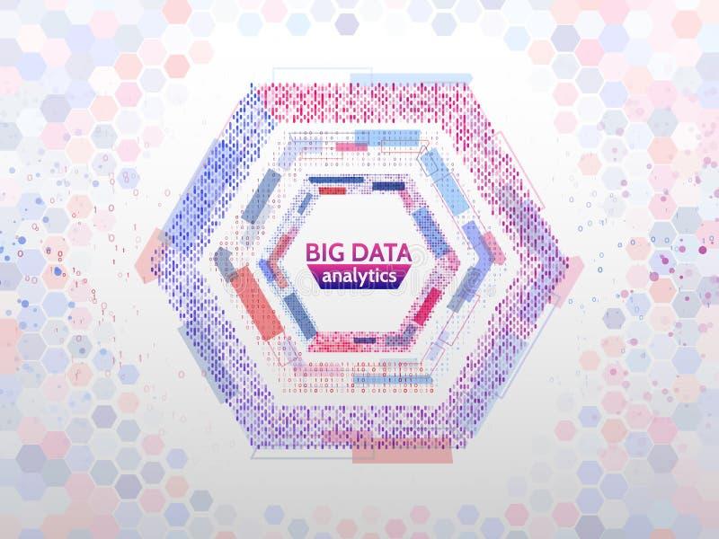 大数据连接结构 与线、小点和二进制编码的抽象元素 大数据形象化 库存例证