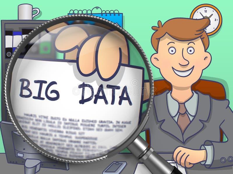 大数据通过放大镜 乱画样式 向量例证
