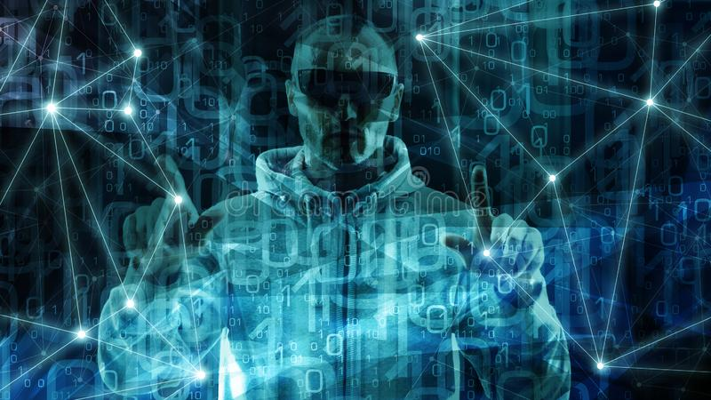 大数据逻辑分析方法和深刻的机器学习创新在办公室,计算机数字,人工智能 库存例证
