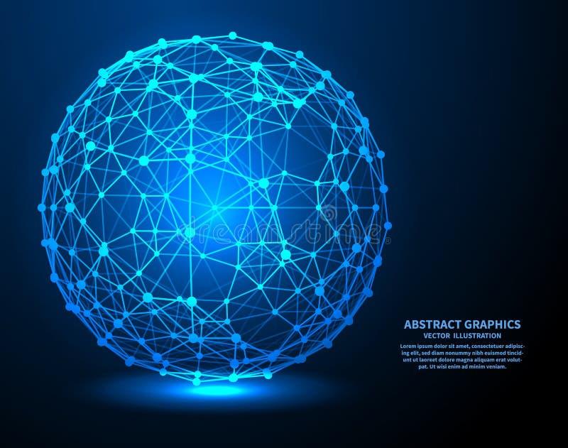 大数据,传染媒介例证 与点和线的网络连接 抽象背景技术 库存例证