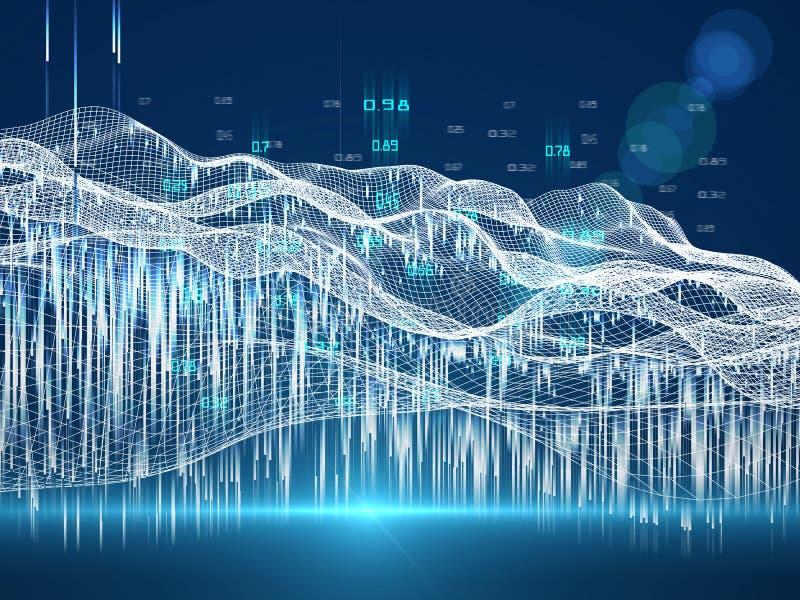 大数据 人工智能的商业可视化 量子虚拟密码 区块链 分析算法数据 免版税库存图片