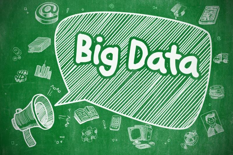 大数据-在绿色黑板的动画片例证 库存例证