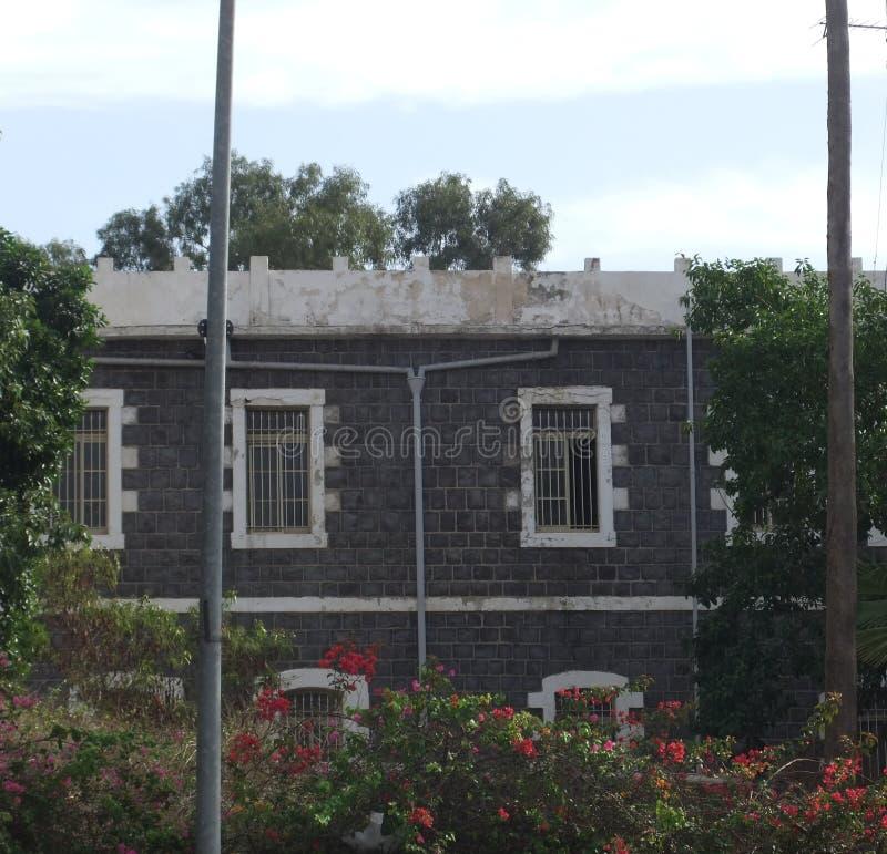 大旅舍在提比里亚-在前景的bouganvillia 库存图片