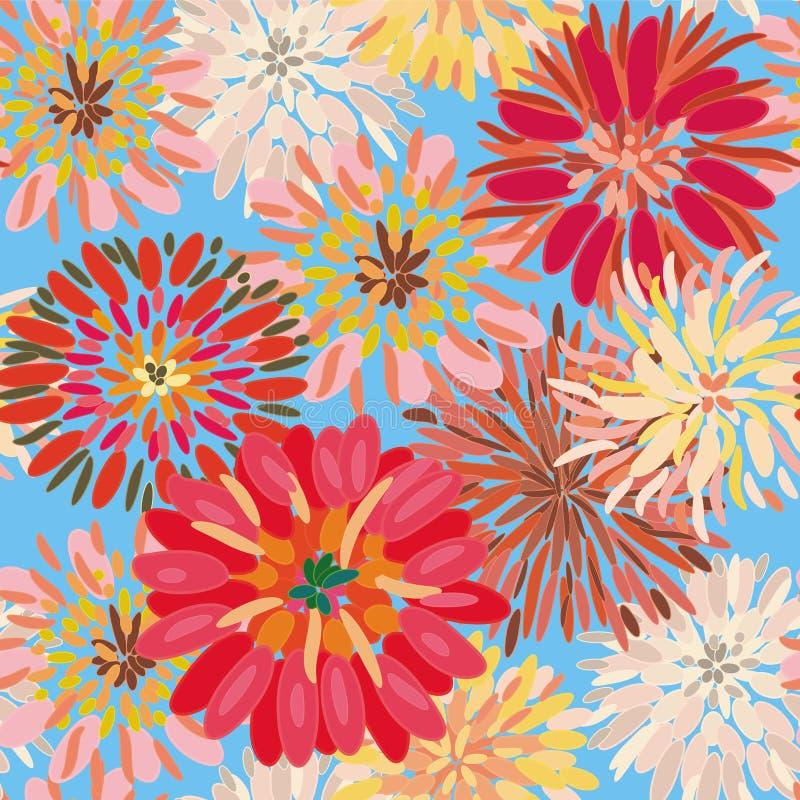 大无缝大丽花花卉的模式 向量例证