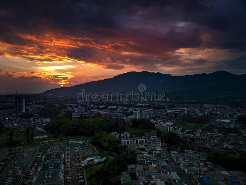 大日落在哥伦比亚不可思议的国家 库存图片