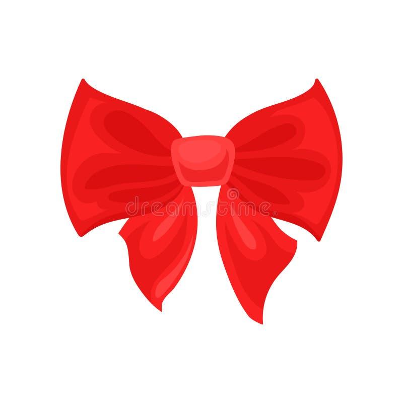大明亮的红色弓 女孩的头发辅助部件 礼物盒的装饰 优惠券、电视节目预告横幅或者飞行物的平的传染媒介 向量例证