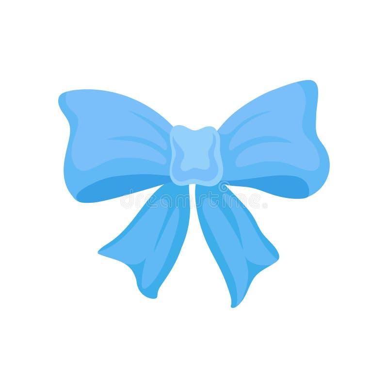 大明亮的蓝色弓由缎丝带制成 礼物盒的逗人喜爱的装饰 贺卡或飞行物的平的传染媒介元素 库存例证
