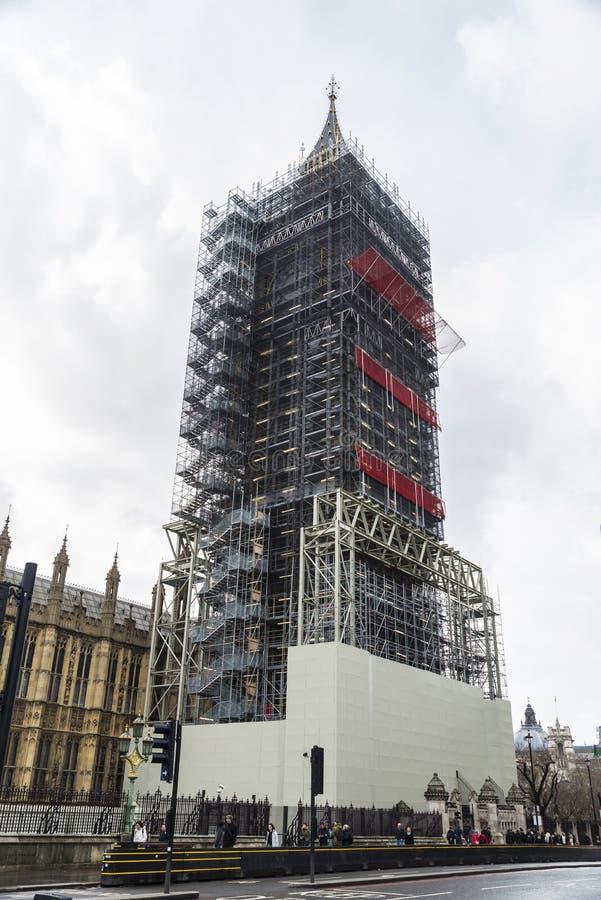 大本钟在建筑在伦敦,英国 免版税库存图片