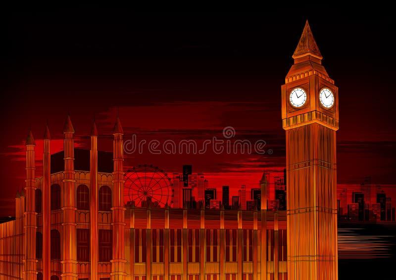 大本钟威斯敏斯特的时钟举世闻名的历史纪念碑的伟大的响铃在伦敦 库存例证