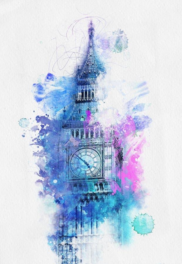 大本钟,伦敦五颜六色的水彩  向量例证