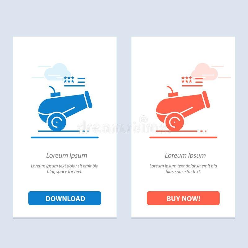 大枪、大炮、短程高射炮、灰浆蓝色和红色下载和现在买网装饰物卡片模板 库存例证