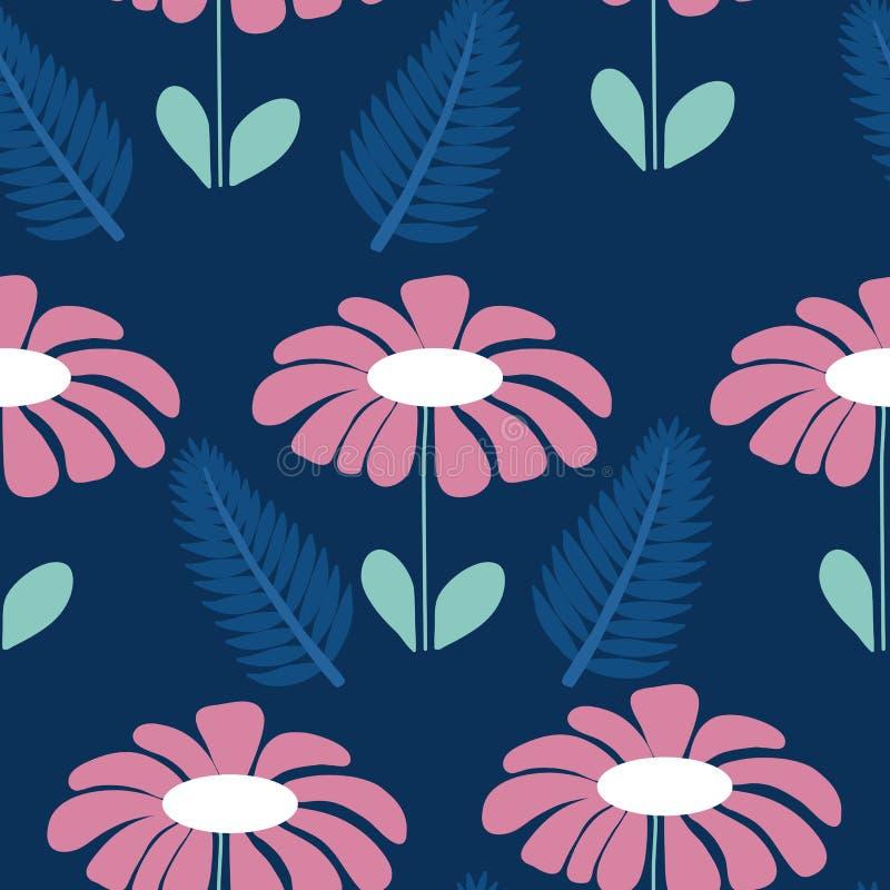大桃红色花和蓝色叶子,在一个无缝的样式设计 库存例证