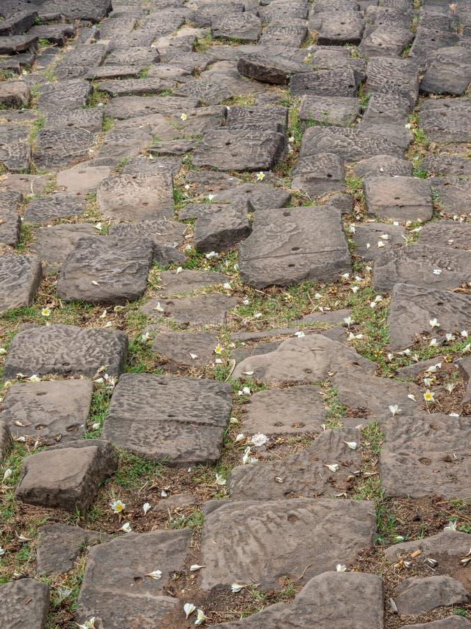大桶Phou废墟细节 占巴塞省,老挝 免版税库存图片