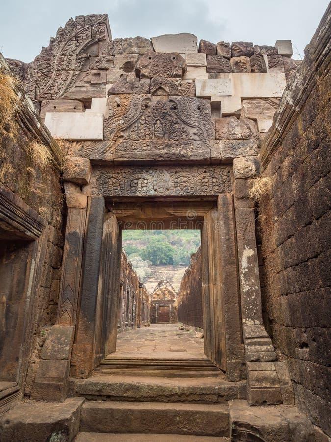 大桶Phou废墟 占巴塞省,老挝 库存照片