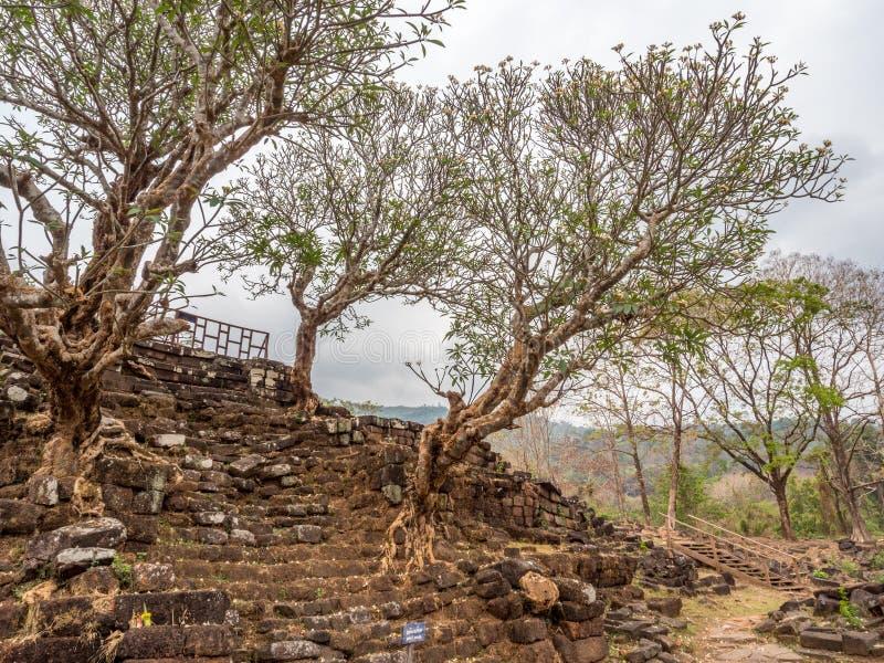 大桶Phou废墟 占巴塞省,老挝 免版税库存照片