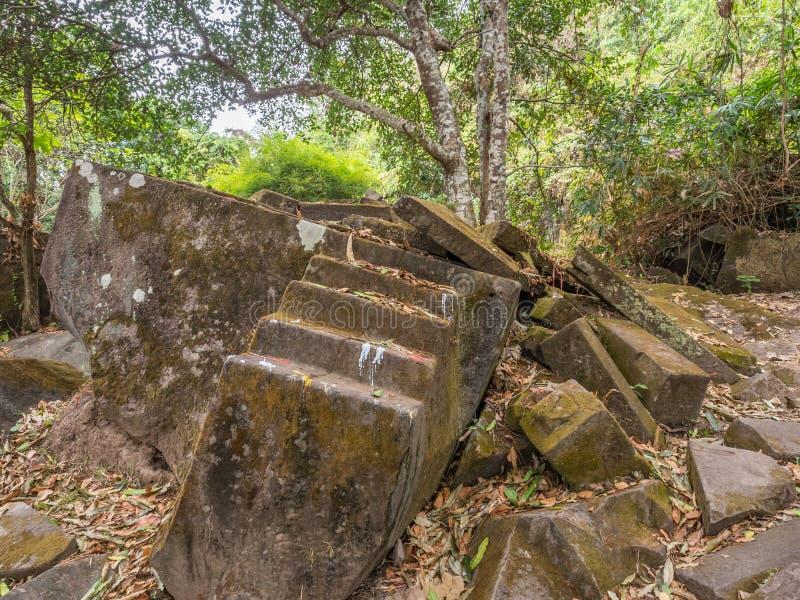 大桶Phou废墟 占巴塞省,老挝 图库摄影