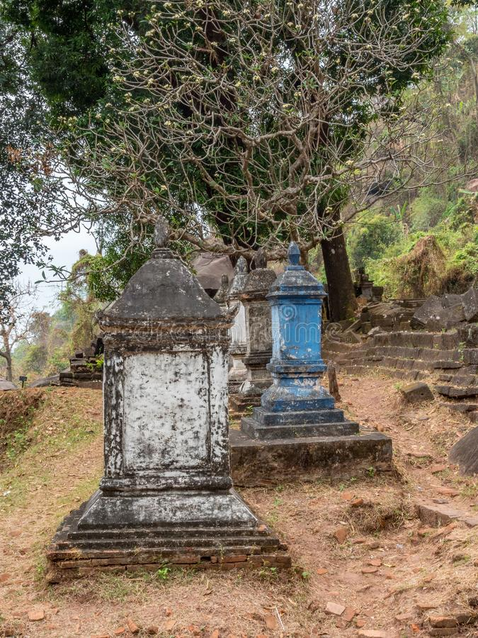 大桶Phou废墟 占巴塞省,老挝 库存图片