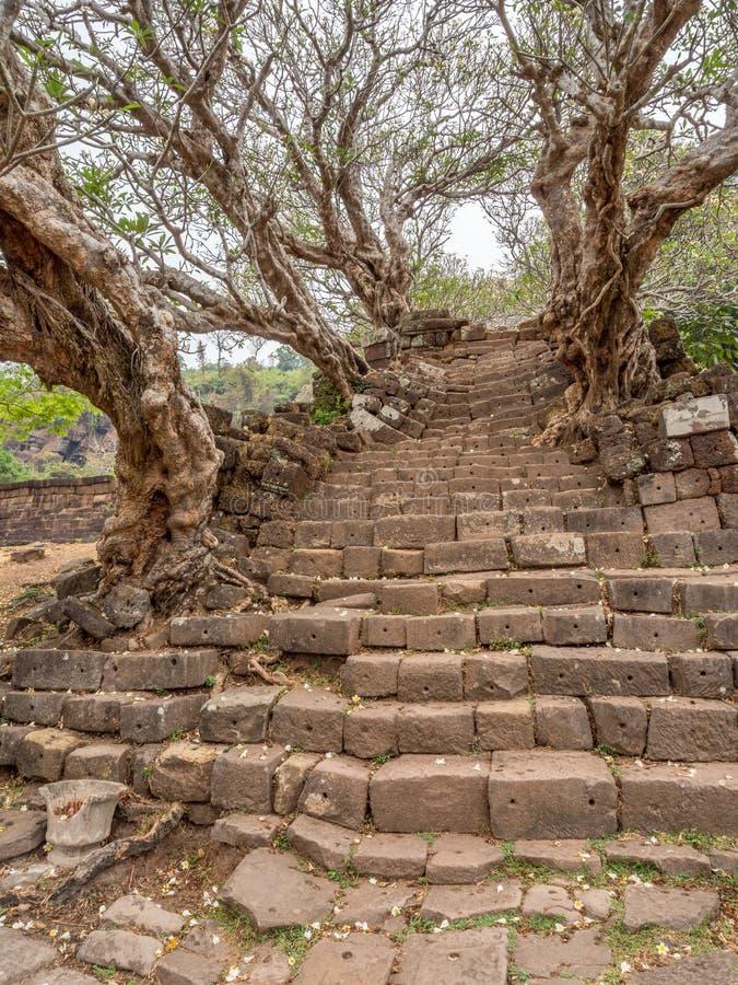 大桶Phou废墟 占巴塞省,老挝 免版税库存图片