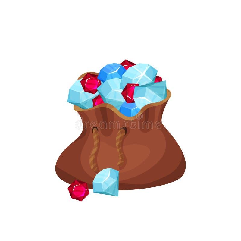大棕色袋子贵重物品充分向金刚石、青玉和红宝石扔石头 动画片宝石 平的传染媒介元素为 库存例证