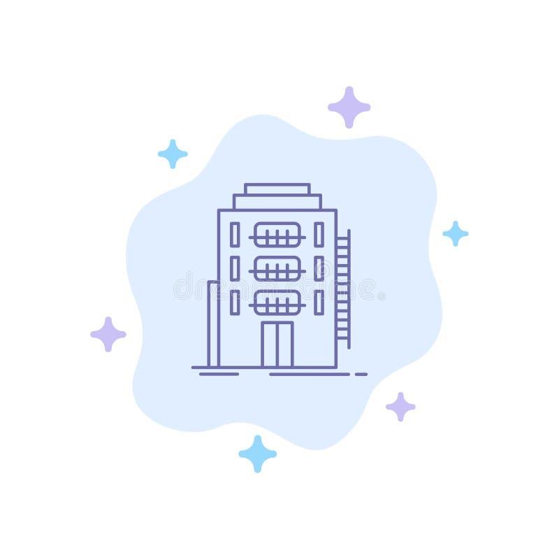 大楼、城市、宿舍、旅舍、Hotel Blue Icon on Abstract Cloud Background(抽象云背景上的蓝色图标) 皇族释放例证