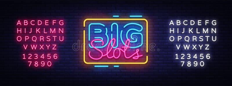 大槽孔标志传染媒介设计模板 赌博娱乐场霓虹商标,轻的横幅设计元素五颜六色的现代设计趋向,夜 向量例证