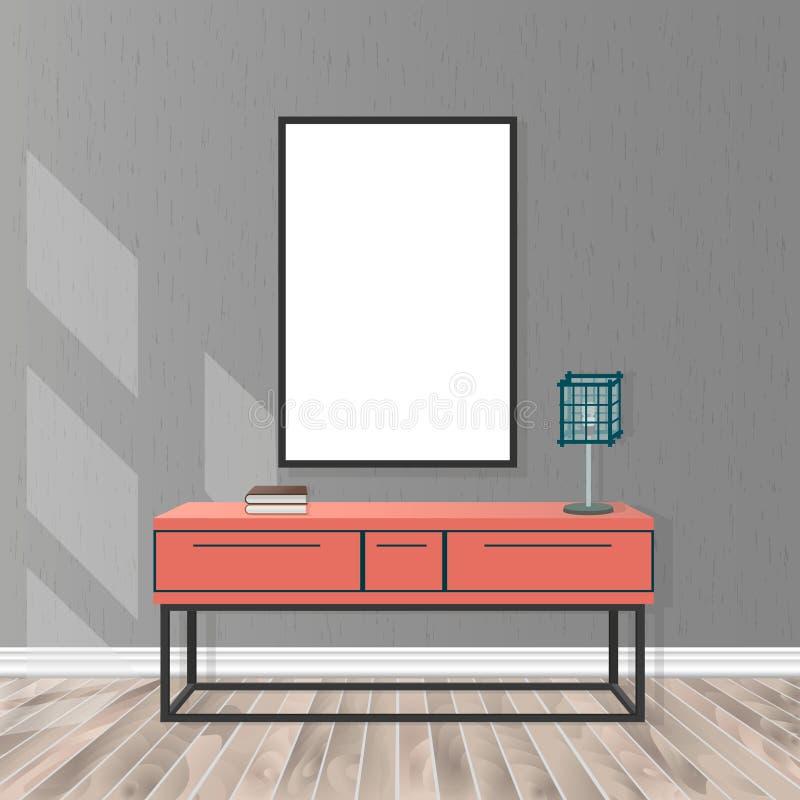 大模型与空的框架,局,灯,木条地板地板,混凝土墙的客厅内部 库存例证