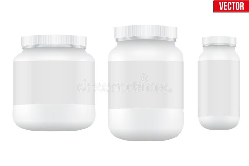 大模型体育营养容器 乳清蛋白和 皇族释放例证