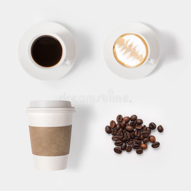 大模型在白色背景隔绝的咖啡具的设计观念 免版税库存照片