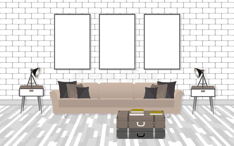 大模型在行家样式的客厅内部与框架、沙发、灯和白色砖墙 皇族释放例证