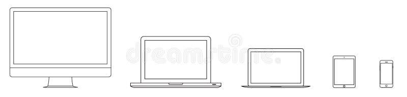 大模型小配件和设备概述象在白色背景设置了 储蓄传染媒介例证eps10 库存例证